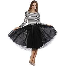 COLLEER Falda Corta 7 Capa de Gasa Tul, La Gasa de La Enagua de Tul de Múltiples Capas, Falda Plisada Retro Perfecta para Danza Ballet y Tacones o ...
