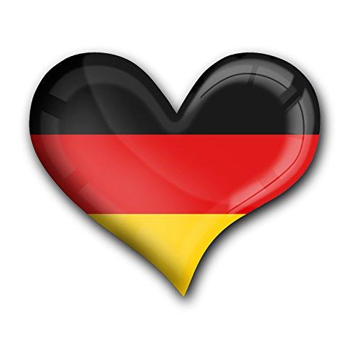 """Top Kühlschrank-Magnet aus Metall mit starkem Neodym-Magnetem und hochglänzender Kunstharzbeschichtung in Herz-Form """"Flagge Deutschland"""" von metALUm - tolles Geschenk für Deutschland - Fans"""
