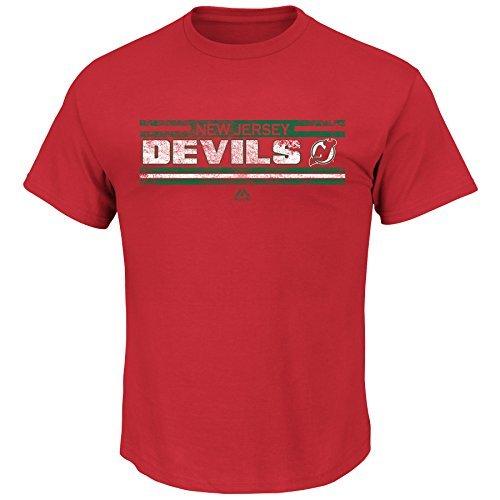 Majestic Athletic New Jersey Devils NHL Herren Vintage Stanley-Cup-Geschichte Banner T-Shirt, Mädchen Jungen Unisex-Kinder Damen Herren, Rot, Small