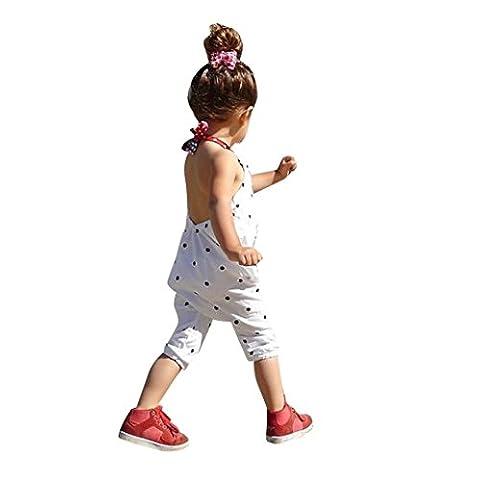 Bekleidung Longra Kleinkind Kind Baby Mädchen Riemen Overalls Stück Hosen Rompers Jumpsuits Mädchen SommerKleidung(1-6Jahre) (110CM 3-4Jahre, White)