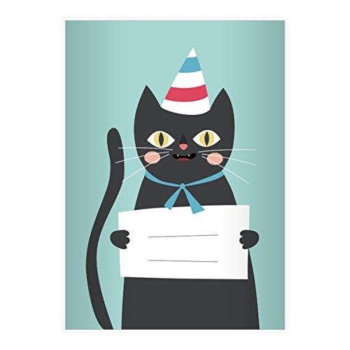 Kartenkaufrausch 16 Super süße Katzen DIN A5 Schulhefte, Rechenhefte mit Party Hut in hellblau Lineatur 7 (kariertes Heft)