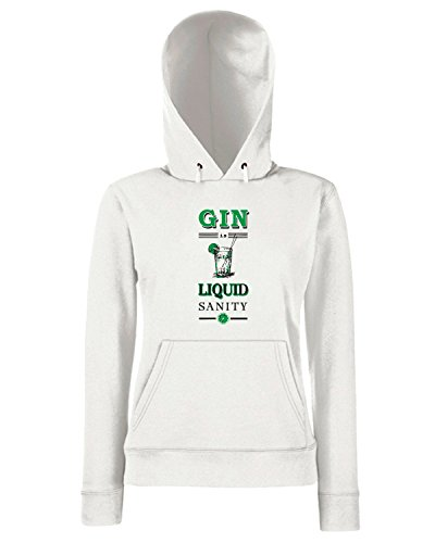 T-Shirtshock - Sweats a capuche Femme CIT0086 gin is liquid sanity Blanc