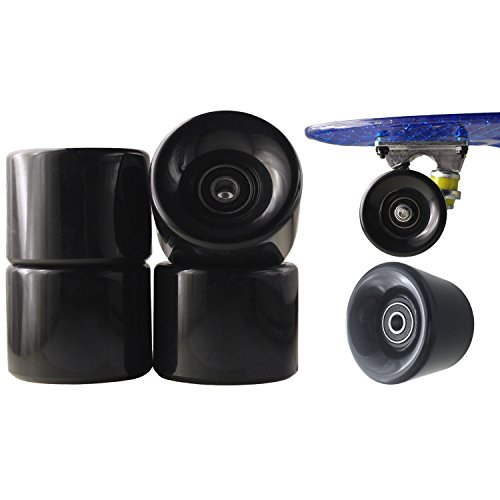 77 SPORT 1 Set 4x Rollen für Penny-board Long-board Retro Skate-board und Mini Cruiser Board mit Kugellager ABEC-7 Skate Longboard Kugellager Shop Rollerblade Profi (ABEC-7, Schwarz) -