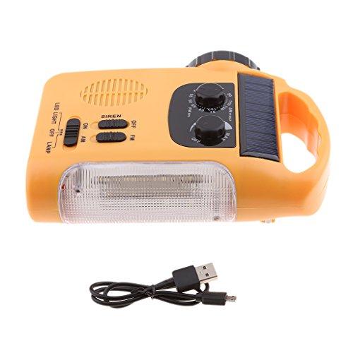 Homyl Urgence Radio Lampe Torche Chargeur à Manivelle Solaire FM pour Randonnée Sports