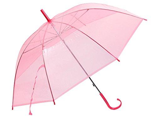 Alsino Stockschirm Stock transparent Regenschirm City Schirm Langschirm mit Griff, 61/1885 rosa