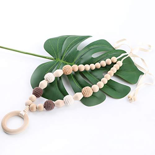 baby tete Perles de bois bébé anneau de dentition en bois Crochet perles bijoux d'allaitement bébé dentition de qualité alimentaire sensorielle bébé voiture ensemble jouet