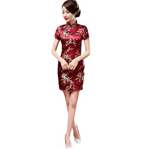 Meijunter Chinesisch Traditionell Frauen Retro Blumen gedruckt Kurzarm Cheongsam Brokat Qipao Abendkleid M