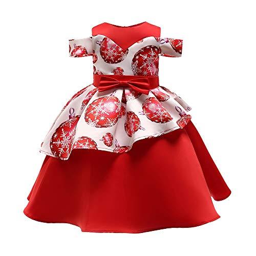Beikoard Kleinkind Kinder Baby Mädchen Santa Print Prinzessin Kleid Weihnachten Outfits Weihnachten Weihnachtsmann Schneemann Lace Print Prinzessin Kleid (Rot-2, 100)