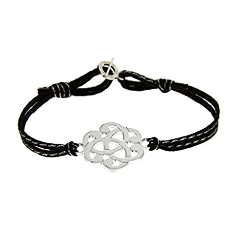 Bracelet arabesque sur lien cuir surpiqué avec mini fermoir Argent massif Noir surpiqué argent