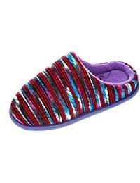 Lodgemok - Zapatillas de estar por casa de cuero para mujer, color azul, talla 37.5