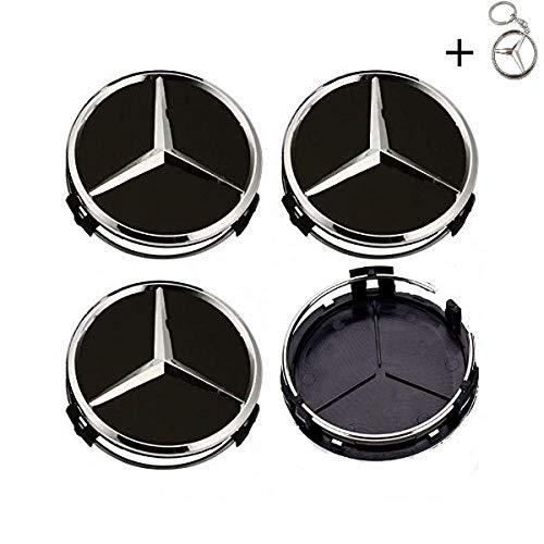 datex-bm Set 4 COPRIMOZZO Mercedes Benz + Portachiavi in Omaggio 75mm Tappi Classe A B C CLA CLK CLS E S ML SLK R GLE GLC GLK GLA W204 W211 E70 per Cerchi in Lega