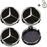 Tapacubos Mercedes 75mm Tapas Rueda Central,1 Llavero de Regalo Incluido,para Llantas de