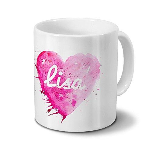 Tasse mit Namen Lisa - Motiv Painted Heart - Namenstasse, Kaffeebecher, Mug, Becher, Kaffeetasse - Farbe Weiß