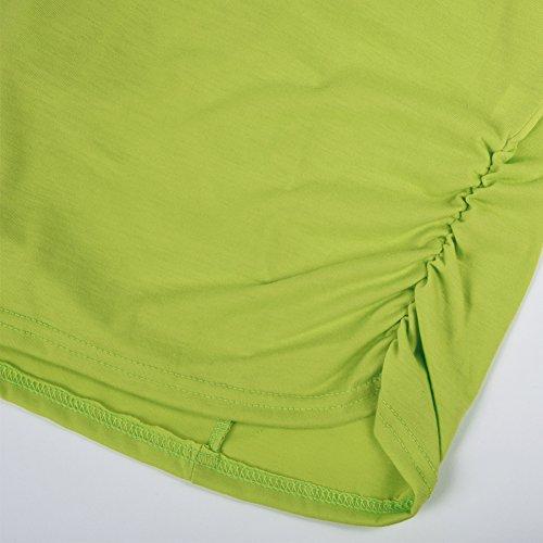 iBaste Damen Oberteil Festlich T-Shirts Bluse Elegant Shirt Kurzarm Große Größen Grün(Schulterfrei)