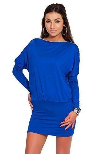Futuro Fashion Glamour Femmes Mini Robe avec fermeture éclair sur épaule Jersey Manche Longue Tunique Tailles 8-18 UK 8440 Bleu Roi