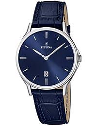 Festina - F16745-3 - Montre Homme - Quartz Analogique - Cadran Bleu - Bracelet Cuir Bleu