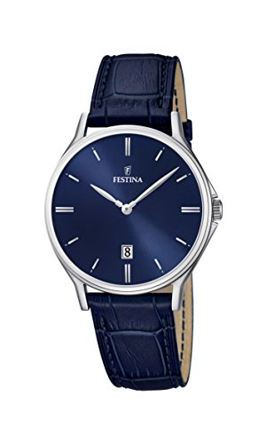 Festina Men's Quartz Watch with Blue Dial Analogue Display and Blue Leather Strap F16745/3