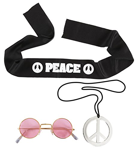(60er 70er Jahre Hippie Set Peace Kette Stirnband Brille Flower Power)