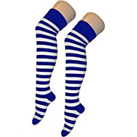Crazy Chick Women Stripe Over The Knee Socks Thigh High Girls Stretchy OTK Socks Fancy Dress