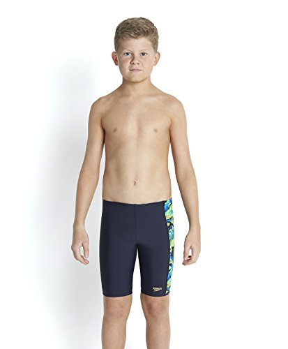 Speedo Jungen Beachpunch Allover Panel Jammer Badehosen, Speedo Navy/Neon Blue, 164 (Navy Shorts Boys Blue)