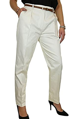ICE Chino Tapered Leg Trousers FREE Belt Ivory Stone 8-22 (14)