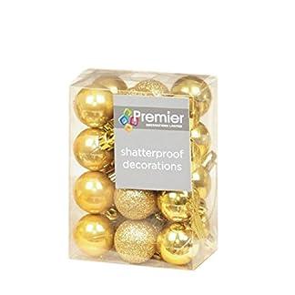 Juego de 24 bolas de Navidad Premier (irrompibles, varios acabados), color dorado