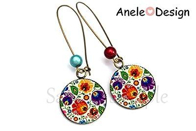 Boucles d'oreilles * Folklorique Broderie* cabochon rouge violet bleu bronze motifs russes slave