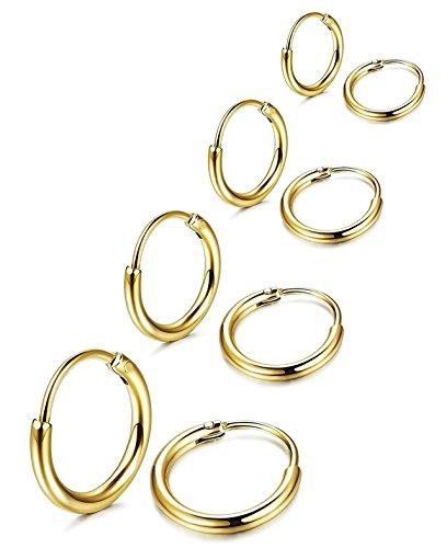 02460ed14330 1 - Sailimue 4 Pares de Acero Inoxidable Pendiente Aro Hombre Mujer Unisex  Pendiente Negro Color · 2 - Aros oro ...