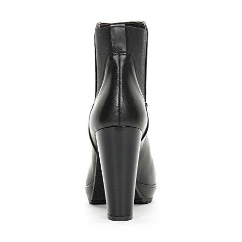 ALESYA by Scarpe&Scarpe - Bottines hautes avec élastique arrière, en Cuir, à Talons 10 cm Noir