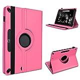 UC-Express Robuste Schutzhülle für Ihr Amazon Fire HD 10 Tablet aus Kunstleder mit Standfunktion 360° Drehbar Hülle Schutztasche Ständer Tasche Cover Case Etui, Farben:Pink