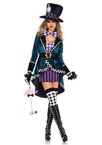 Hatter Womans Mad Kostüme (Wunderland Hutmacher Damen Kostüm Kleid Mantel Hut Märchen Alice)