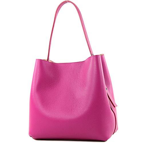 modamoda de - T188 - ital. Henkeltasche Shopper aus Leder, Farbe:Pink - Rosa Leder Damen Aktentasche