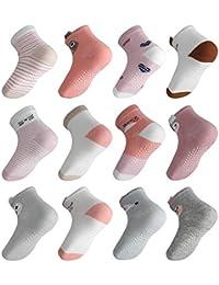 Lictin Baby Socks Non Skid Socks - 12 Pairs Girls Animal 3D Design Assorted Colored Socks, 1-3 Year Pink/White/Grey/Rose Red Cotton Socks Infant Toddler Socks