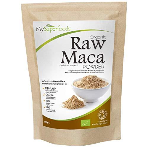 Polvo De Maca Orgánica (500g), MySuperFoods, Repleto de nutrientes saludables, Antiguo alimento para la salud de Perú, Delicioso sabor a maltosa, certificado como producto orgánico