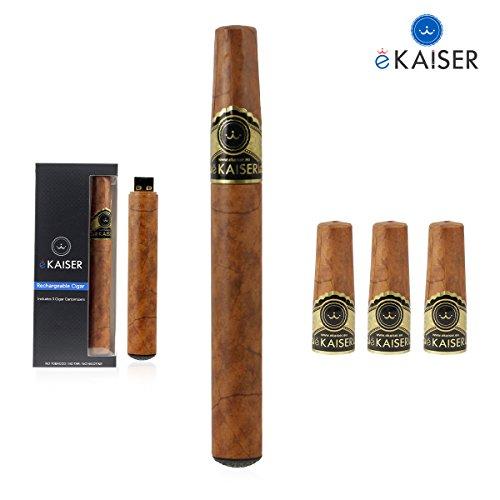 PREMIUM Wiederaufladbare elektronische Zigarre v2 Gold | Mit echtem Zigarrengeschmack | E-Shisha-Set | E-Zigarre | E-Zigarette | E-Liquid | Deutsche Anleitung