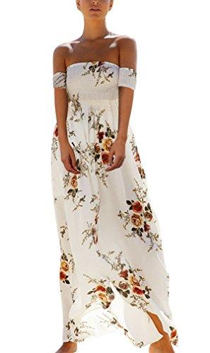 Hikong Abito Lungo Donna Elegante Chiffon Fiore Stampato a Vita Alta Vestito Maxi Spacco a Pieghe Senza Spalle Abiti da Sera Cerimonia Cocktail Bianco