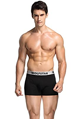 Wolfstar Underwear Men's Classical Stretch Soft Breathable Cotton Trunk 3 Pack Boxer Briefs