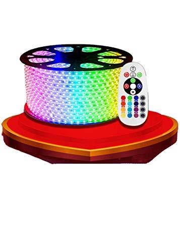 KALUNBS Jago LED Strip Licht RGB Farbiger Lichtstreifen Streifen 25m Band Leiste mit 1500 LEDs (5050 IP65 LED/60 LEDs/Meter) inkl. Netzteil & Fernbedienung