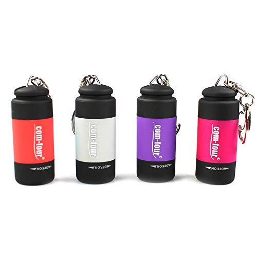 com-four® 4X USB Mini LED Taschenlampe wiederaufladbar wasserdicht Schlüsselanhänger (04 Stück - rot/lila/grau/pink)