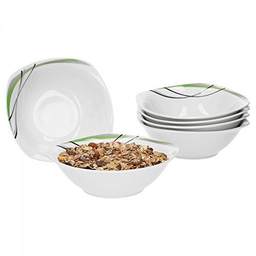 Ensemble de 6 bol donna 14,2 cm-petit bol/saladier en porcelaine blanche avec décor réguliers en noir, gris et vert