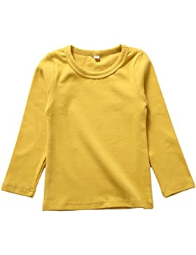 Anguang Bebé Niña Redondo Cuello Largo Manga camiseta Suave Ajuste Blusa Multicolor Tops