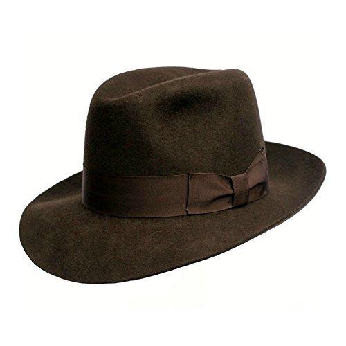 Fedora Hut - Herren/Unisex - Qualität - Hergestellt auf Last. 100% Wolle. Indiana Jones Stil. Breit Brim. Braun Luxus Futter. Grosgrain Band. Innere Schweißband - Braun, Large - 59cm