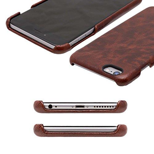 iPhone 6 / 6S Backcover-Case, atKITE Vintage Stil Case aus echtem Leder - Kaffee - Ultra Slim - Präziser Zuschnitt und Design - Handgefertigt Kaffee
