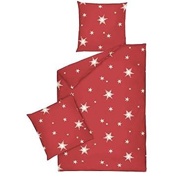 502fae81ae JACK by Dormisette Fein Biber Bettwäsche Stern Sterne Rot Weiß,  Größe:135x200cm Bettwäsche
