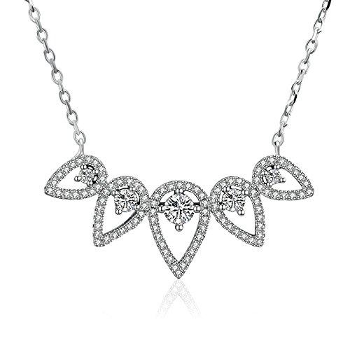Herren-matrix Wasser (Aienid Halskette 925er Sterling Silber Halskette für Frauen Wasser Silber Kettenlänge:41+5CM)