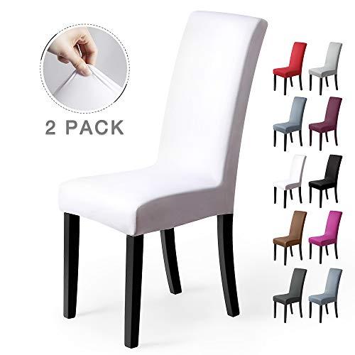 Stuhlhussen 2 Stück, Stretch-Stuhlbezug elastische moderne Husse Elasthan Stretchhusse Stuhlbezug Stuhlüberzug . bi-elastic Spannbezug, sehr pflegeleicht und langlebig Universal (Packung von 2, Weiß) -