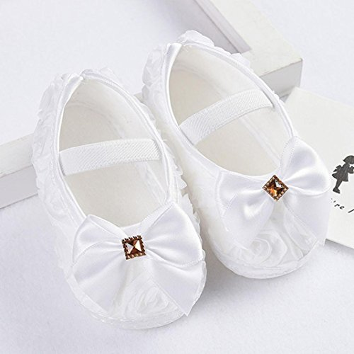 Hunpta Neue Baby jungen Lauflernschuhe Kleinkind Kind Baby Mädchen Rose Bowknot Gummiband Neugeborenen Wanderschuhe (13, Weiß) Weiß