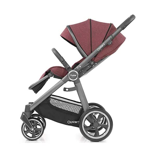 Babystyle Oyster 3 Pushchair in Berry with City Grey Chassis & Raincover Babystyle Multi position, lie-flat seat unit (rear or forward facing) from birth. Lightweight chassis and telescopic handle design with 4 adjustable positions. Swivel front wheels with one click locking mechanism. 3