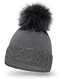 PaMaMi 18564 Women s Thermal Winter Hat Warm Knitted Hat with Bobble  Knitted Soft Bobble Hat Slouch Beanie Made in EU Choice of… b0fe5c16376