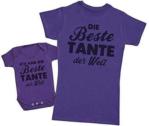 Die Beste Tante der Welt - Passende Tante Baby Geschenk Set - Damen T-Shirt & Baby Strampler - Violett - S & 62 (3-6 Monate)
